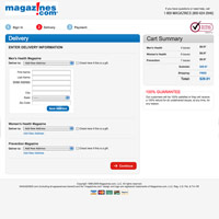 Magazines.com Checkout Process